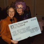 Ann with Dame Edna and a cheque for the Beethoven Fund, November 25th, 1987
