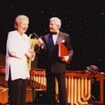 Michael Aspel presents Ann with the Big Red Book at the Savoy Theatre, 21 Jan 1996